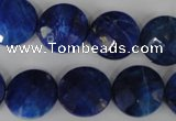 CNL473 15.5 inches 16mm faceted coin natural lapis lazuli beads