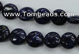 CNL923 15.5 inches 10mm flat round natural lapis lazuli gemstone beads