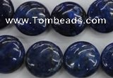 CNL926 15.5 inches 16mm flat round natural lapis lazuli gemstone beads