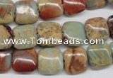 CNS103 15.5 inches 12*12mm square natural serpentine jasper beads