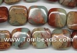 CNS104 15.5 inches 14*14mm square natural serpentine jasper beads