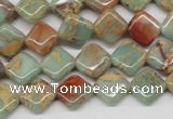 CNS118 15.5 inches 10*10mm diamond natural serpentine jasper beads