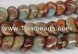 CNS124 15.5 inches 12mm flat round natural serpentine jasper beads