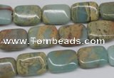 CNS145 15.5 inches 10*14mm rectangle natural serpentine jasper beads