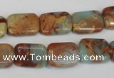 CNS194 15.5 inches 12*16mm rectangle natural serpentine jasper beads