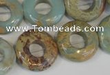 CNS197 15.5 inches 20mm donut natural serpentine jasper beads