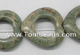 CNS22 16 inches 30*30mm heart natural serpentine jasper beads