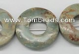 CNS23 16 inches 30mm flat round natural serpentine jasper beads