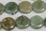 CNS231 15.5 inches 16mm flat round natural serpentine jasper beads
