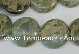 CNS232 15.5 inches 18mm flat round natural serpentine jasper beads