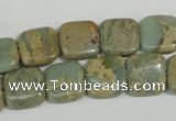 CNS250 15.5 inches 12*12mm square natural serpentine jasper beads