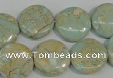CNS286 15.5 inches 18mm flat round natural serpentine jasper beads