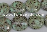 CNS288 15.5 inches 18mm flat round natural serpentine jasper beads