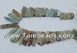 CNS300 Top drilled 10*25mm - 12*50mm sticks serpentine jasper beads