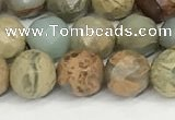 CNS342 15.5 inches 8mm faceted round serpentine jasper beads