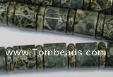 CNS418 15.5 inches 4*14mm rondelle & 12*14mm tube serpentine jasper beads