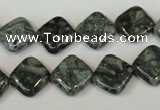 CNS428 15.5 inches 12*12mm diamond natural serpentine jasper beads