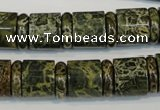 CNS518 15.5 inches 4*14mm rondelle & 12*14mm tube serpentine jasper beads