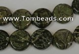 CNS520 15.5 inches 14mm flat round natural serpentine jasper beads