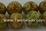 CNS607 15.5 inches 18mm round green dragon serpentine jasper beads