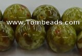 CNS608 15.5 inches 20mm round green dragon serpentine jasper beads