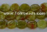 CNS619 15.5 inches 8mm flat round green dragon serpentine jasper beads