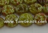 CNS623 15.5 inches 12mm flat round green dragon serpentine jasper beads