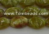 CNS632 15.5 inches 12*16mm oval green dragon serpentine jasper beads