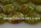 CNS633 15.5 inches 13*18mm oval green dragon serpentine jasper beads
