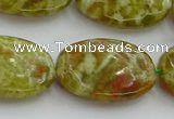 CNS635 15.5 inches 18*25mm oval green dragon serpentine jasper beads