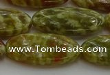 CNS636 15.5 inches 15*30mm oval green dragon serpentine jasper beads