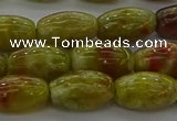 CNS641 15.5 inches 7*12mm rice green dragon serpentine jasper beads