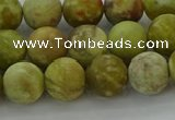 CNS652 15.5 inches 10mm round matte green dragon serpentine jasper beads