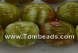 CNS665 15.5 inches 15*20mm drum green dragon serpentine jasper beads