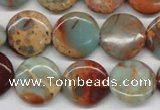 CNS81 15.5 inches 16mm flat round natural serpentine jasper beads