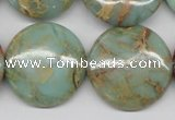 CNS84 15.5 inches 25mm flat round natural serpentine jasper beads