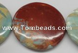 CNS88 15.5 inches 55mm flat round natural serpentine jasper beads