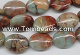 CNS91 15.5 inches 12*16mm oval natural serpentine jasper beads