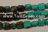 CNT125 15.5 inches 7*7mm faceted square natural turquoise beads