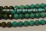 CNT130 15.5 inches 6mm faceted round natural turquoise beads