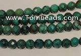 CNT140 15.5 inches 5.5mm - 6mm faceted round natural turquoise beads
