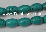 CNT369 15.5 inches 10*14mm rice turquoise beads wholesale