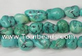 CNT380 15.5 inches 8*12mm nuggets natural turquoise beads