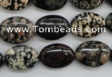 COB156 15.5 inches 13*18mm oval snowflake obsidian beads