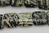 COB164 15.5 inches 16*16mm square snowflake obsidian beads