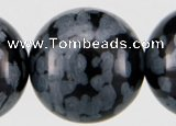 COB25 15 inches 12mm round snowflake obsidian gemstone beads wholesale