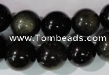 COB256 15.5 inches 14mm round golden obsidian beads wholesale