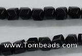 COB388 15.5 inches 8*8mm faceted cube black obsidian beads