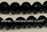 COB454 15.5 inches 12mm faceted round black obsidian beads