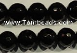 COB455 15.5 inches 14mm faceted round black obsidian beads